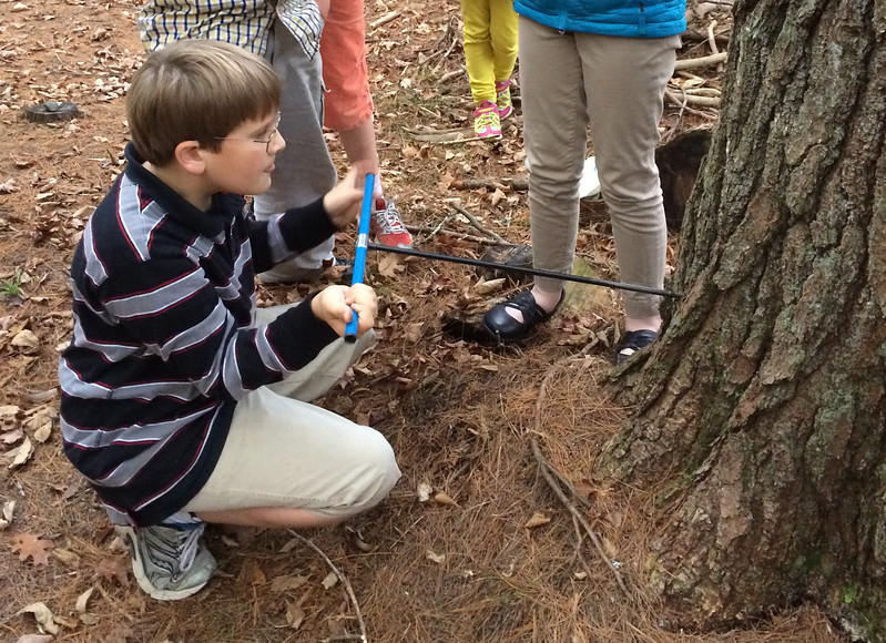 Andy drills a tree core as part of his robotics team research at Crossroads.