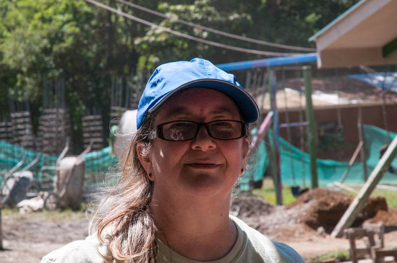 Pam took the year off; here she is volunteering in construction of a school in Costa Rica.