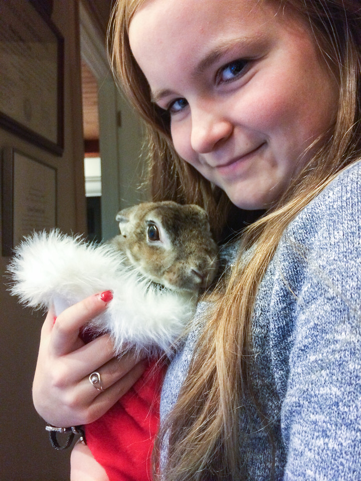 Mara with Joy, her pet rabbit. Merry Christmas!