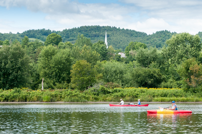 Paddling past the Vermont town of Barnet.