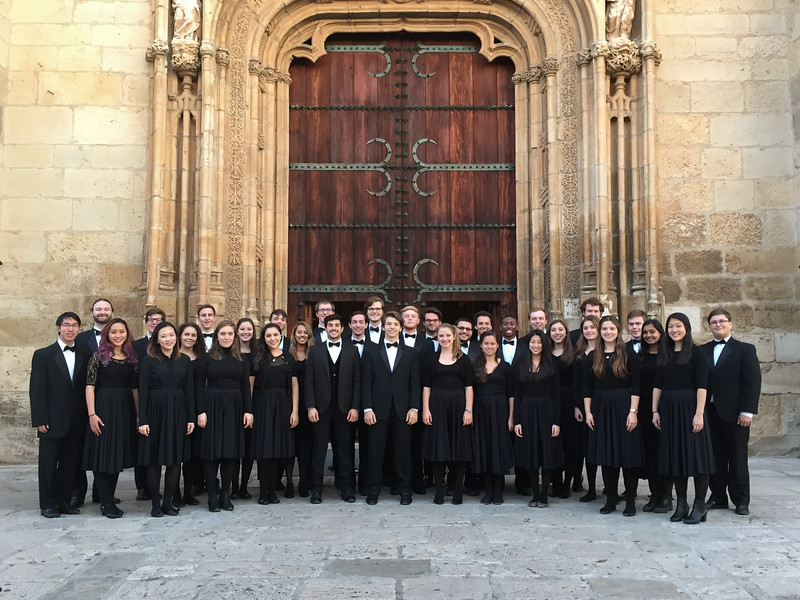 John (far right) joined the Dartmouth Glee Club, which went on tour in Madrid, Spain, in early December.