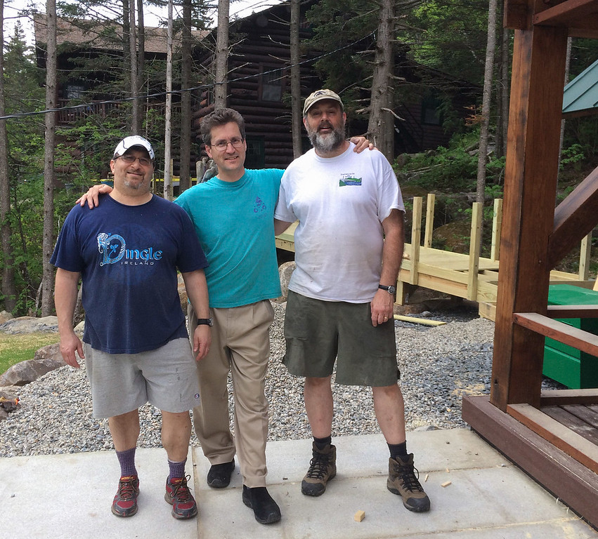 Three Daves - Dave Metsky, Dave Kotz, Dave Hooke - working on the '65 Bunkhouse at Moosilauke Ravine Lodge.