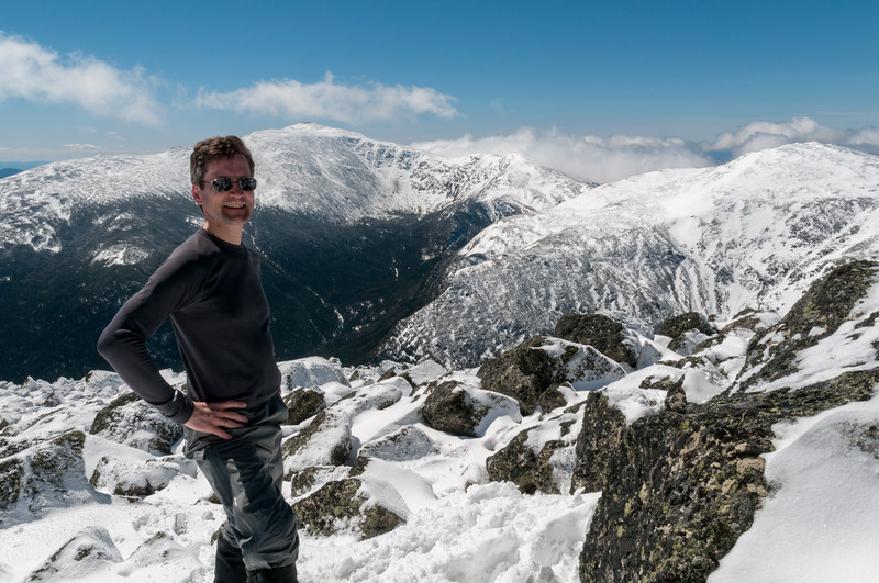 David had a spectacular April hike in NH's Presidential Range; here on the summit of Mount Adams with a view to Mounts Washington, Clay, and Jefferson.