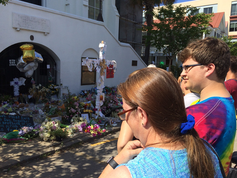 During our annual visit to Charleston in late June, we paid our respects to the memorials outside the Emanuel AME Church.