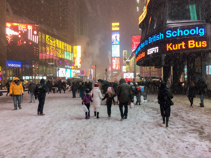 We spent a bitter-cold February weekend visiting New York City and Broadway - here, a snowy evening in Times Square.