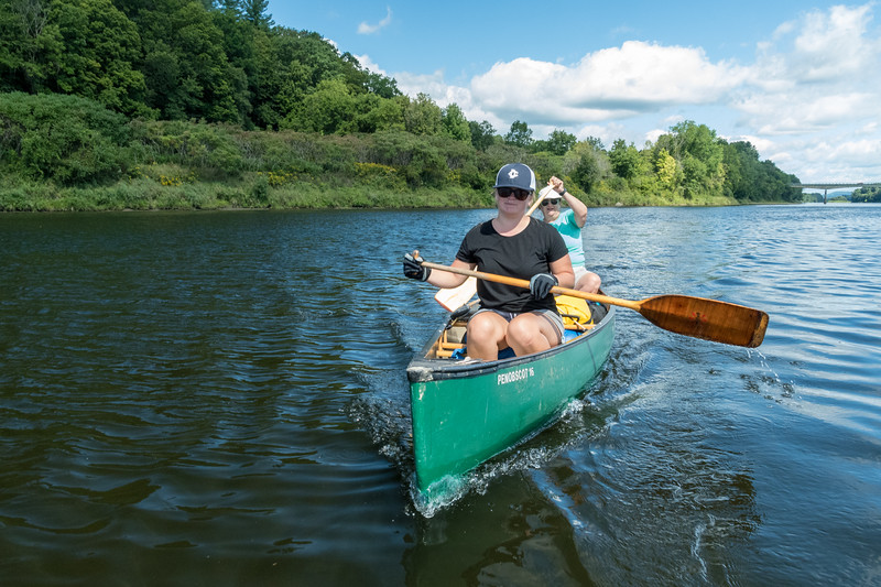 Mara and Pam paddle on our third day of the river trip.