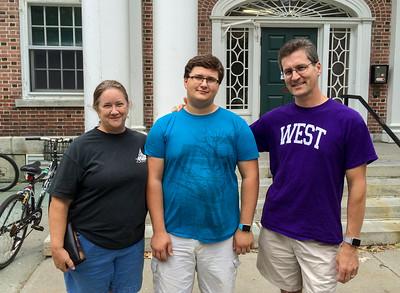 Pam and David drop off John for his sophomore year at Dartmouth - in Mid-Mass hall.
