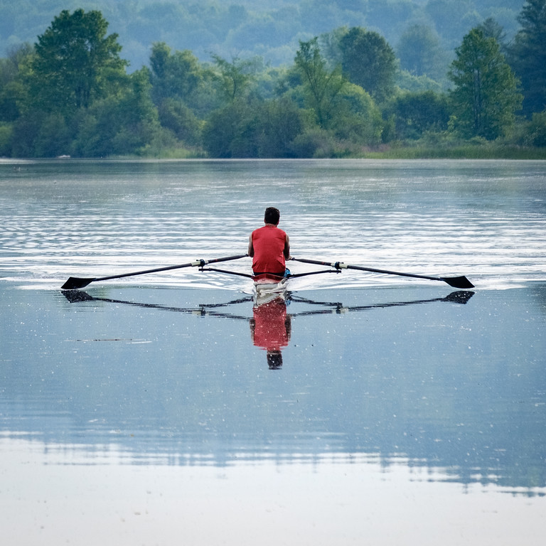 David rowing on the river near home. Photo by Jack Kotz.