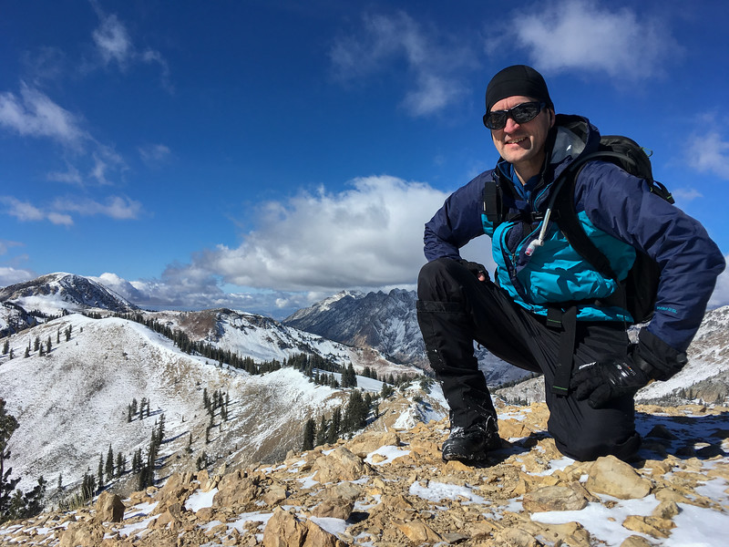 David climbed high above Snowbird in Utah, here at Sunset Peak.