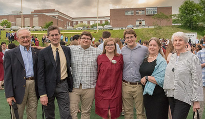 Grandpa Jack, David, John, Mara, Andy, Pam, and Granny Kate at Mara's graduation from Hanover High School.