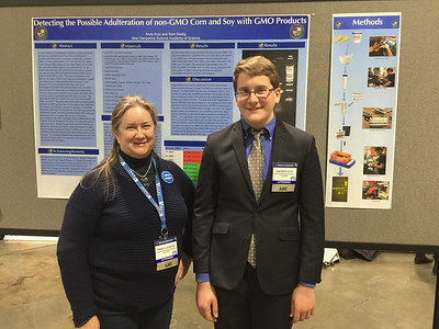 Andy and Pam at his poster at the AJAS '17 symposium.