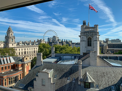 A great view from the mens' room of QE-II conference center, London.