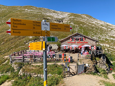 A tiny berghaus awaits hikers who like to stop for a beer and wurst, or a bowl of hot soup.