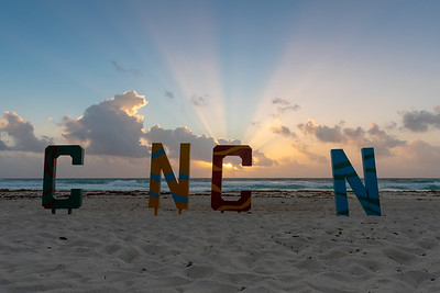 Sunrise on the beach in Cancun.