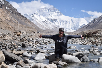 Mara in Tibet in front of Mount Everest.