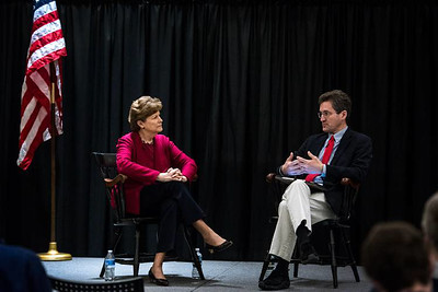 U.S. Sen. Jeanne Shaheen listens to David speak during a discussion about Russian interference in American politics and cybersecurity at Dartmouth. (Valley News - Carly Geraci)
