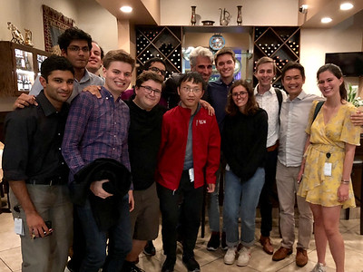 John and other Apple interns after dinner with Craig Federighi, Apple CTO.