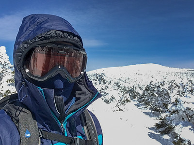 A selfie of David after gearing up to approach the summit of Moosilauke on a cold and blustery day.