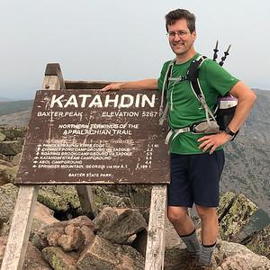 David on the summit of Baxter Peak, Mount Katahdin!