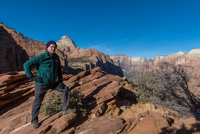 David at Canyon Overlook, soon after sunrise; Zion National Park.