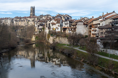 View from Pont du Milieu, toward the core of old Fribourg.