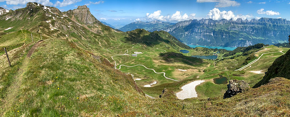 My route will encircle this valley and descend to Seebenalp lake; Flumserberg.