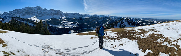 Panoramic view of Santis and the Alps before we descend off the ridge.
