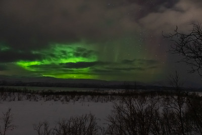Northern Lights as seen from Abisko across Lake Torneträsk.