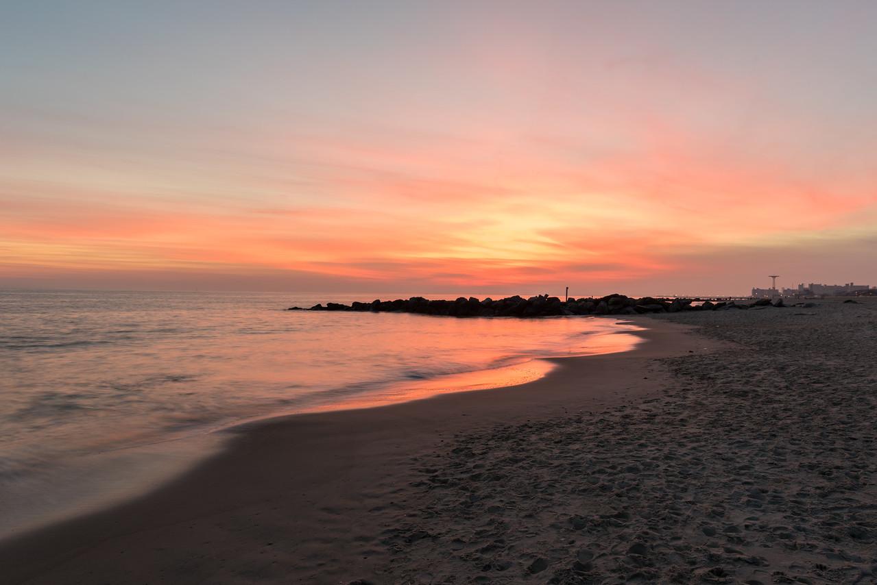 Dramatic Coney Island Beach Sunset