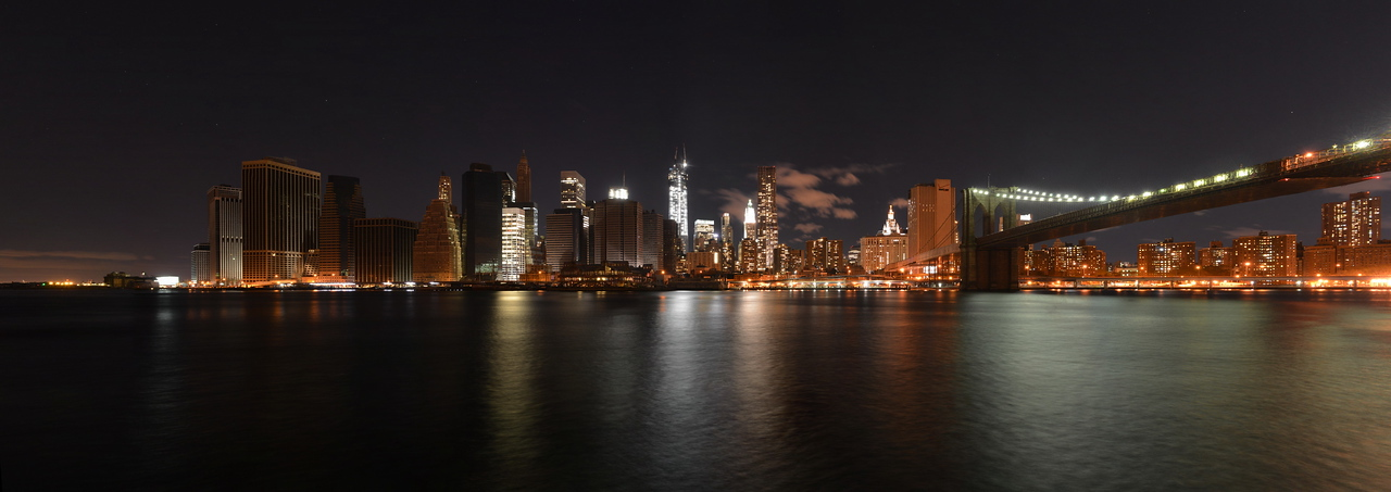 Night view of downtown Manhattan from the southern tip to the Brooklyn Bridge following Hurricane Sandy and power outage as of November 3, 2012. Some buildings have power returned to them.