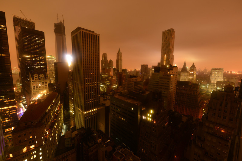 Lower Manhattan following Power Outage as a result of Hurricane Sandy.