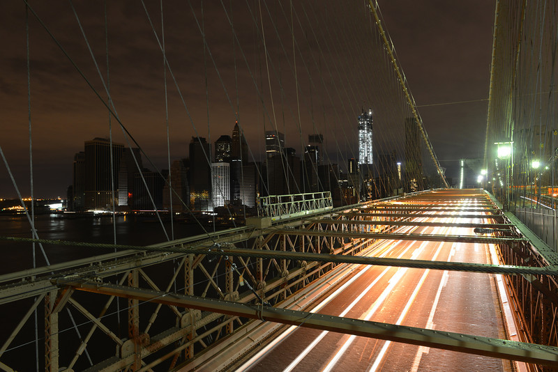 View of Lower Manhattan following power outage as a result of Hurricane Sandy from Brooklyn Bridge.