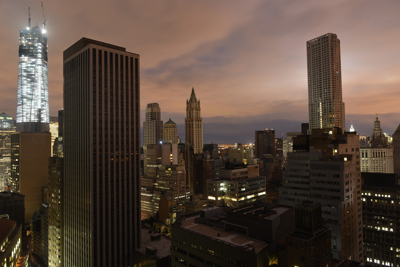 Sunset on Lower Manhattan following power outage as a result of Hurricane Sandy. Some parts of the city slowing getting power.