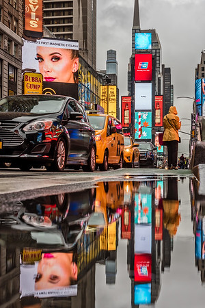 Times Square reflection.