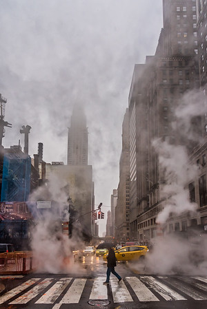 Looking down 42nd Street on a wet day.