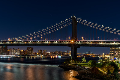 Manhattan Bridge at night.