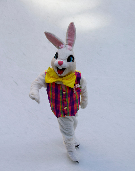 Ice Skating Easter Bunny at Rockefeller Center's Ice Rink