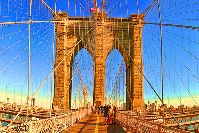 Brooklyn Bridge, color enhanced.