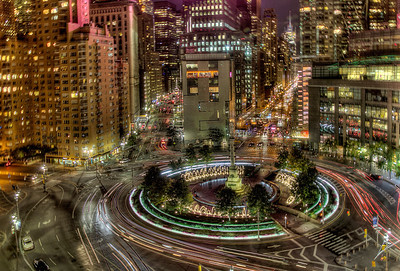 Columbus Circle at midnight. Taken through a window. One of my favorite images.