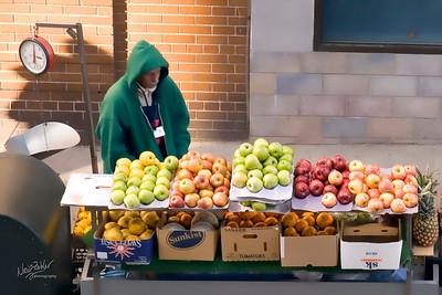 Fruit Vendor - taken from the Gondola going to Roosevelt Island
