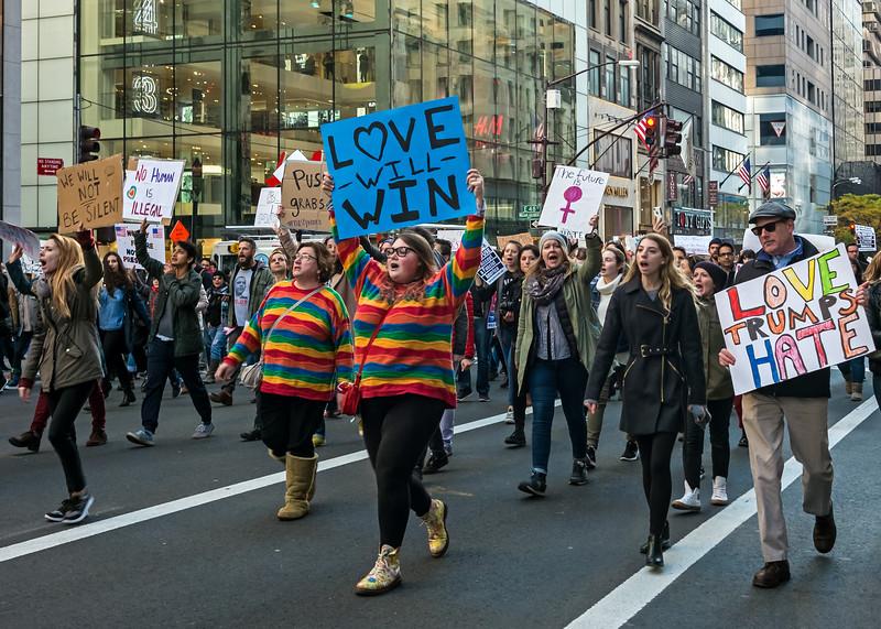 Anti-Trump Protest - Fifth Avenue - 2016