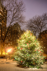 Christmas in Tudor City Park. One of the few times you can see snow in NYC.