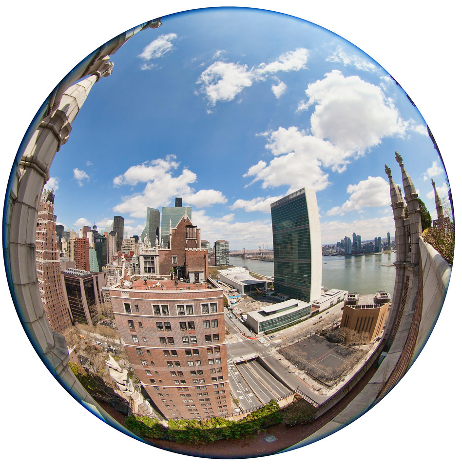 Fisheye view of the United Nations. Taken from the roof terrace at 45 Tudor City Place.