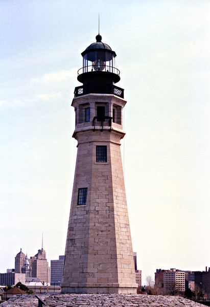 In 1852 a Light House Board study concluded that the Buffalo Light should be one of the 20 light stations on the Great Lakes to receive a fixed 3rd Order Fresnel lens.  Prior to its installation in 1856, the height of the tower was raised to 76 feet by the addition of casement windows and a 2 story metal watch room and lantern.  A fog bell was installed on the side of the tower.
