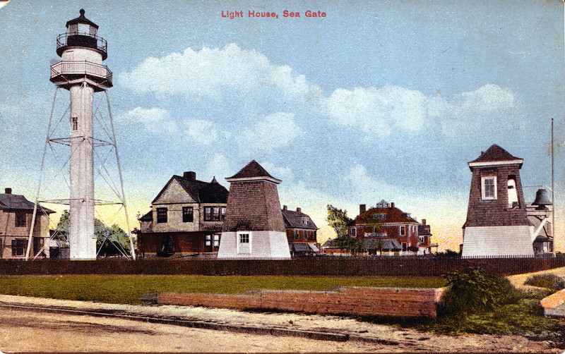Ownership of the station is currently leased to the Coney Island Lightkeepers who hope to open it to the public. This postcard shows the old fog bell tower which was located in the yard of the station.