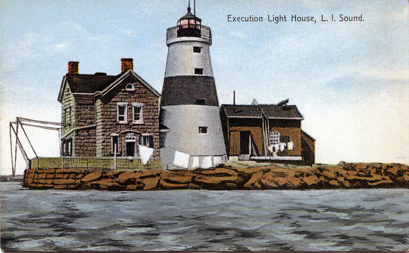 A turn of the century postcard view of the Execution Rocks Lighthouse