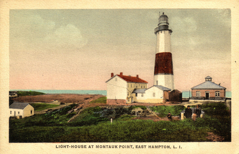 A turn of the century view of the Montauk Point Lighthouse, the 1897 fog signal building and to the left is the 1837 Keepers House.