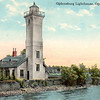An old postcard view of the Ogdensburg Harbor Lighthouse following it's renovations.