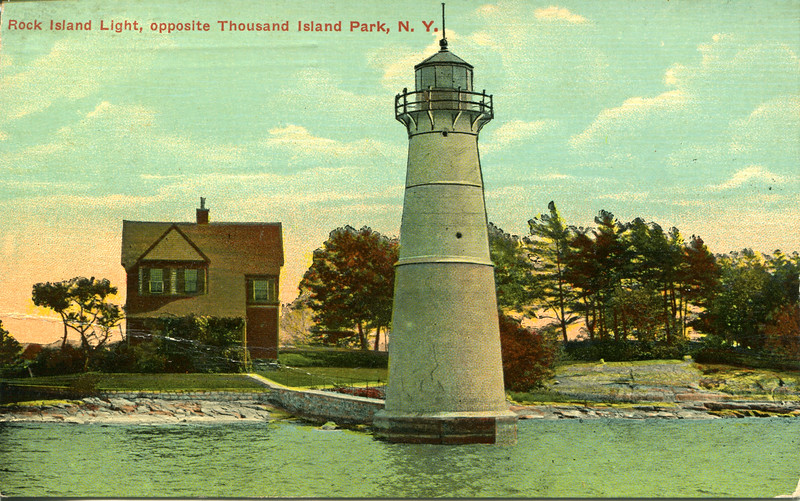 Old postcard view of the Rock Island Lighthouse