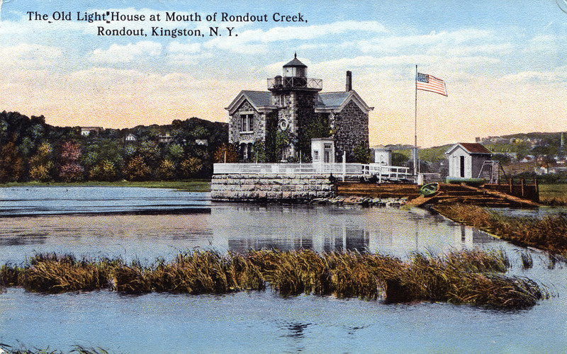 An old postcard view of the 1867 Rondout Creek Lighthouse